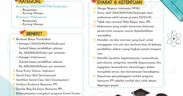 EVENT HUNTER INDONESIA BUKA PENDAFTARAN BEASISWA PPI BAGI PELAJAR DAN MAHASISWA